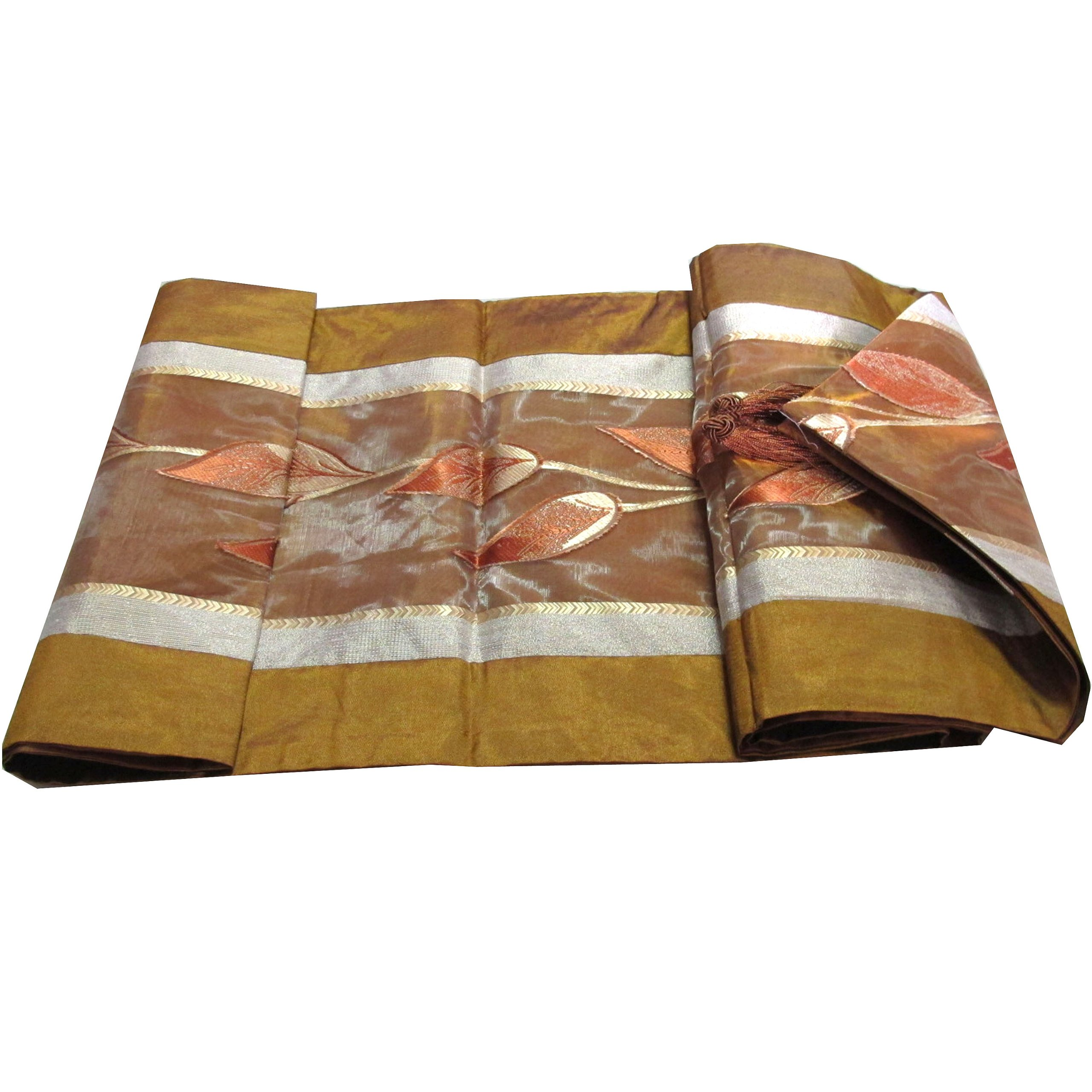 BEAUTIFUL THAI SILK BED RUNNER 13 X 76'' FLOWER WITH COMPLIMENTARY