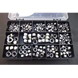 230 Assorted Nyloc Nuts, A2-70 Stainless Steel, M3, M4, M5, M6 & M8 in a Durable Compartment Box
