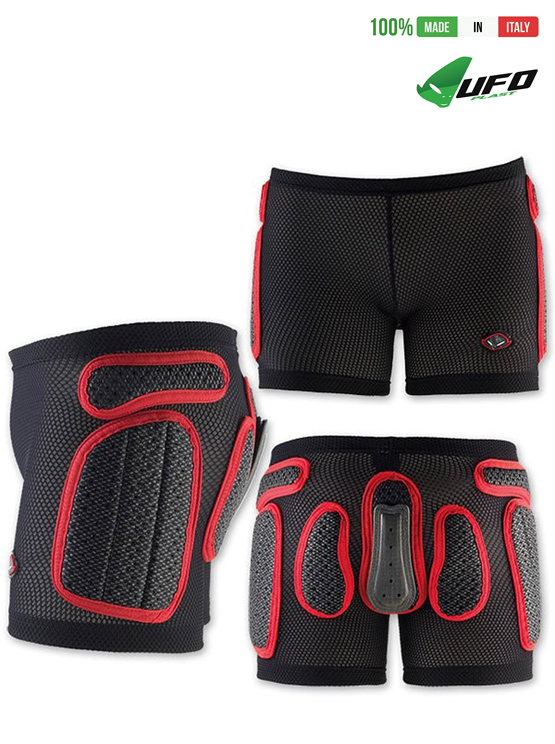 UFO PLAST Made in Italy SK09125 Soft Padded Shorts for Kids / Removable Back Protection / Airnet Material / For: Snowboard, Skateboard, Ski, Skating / Size: S / Color: Black with Red