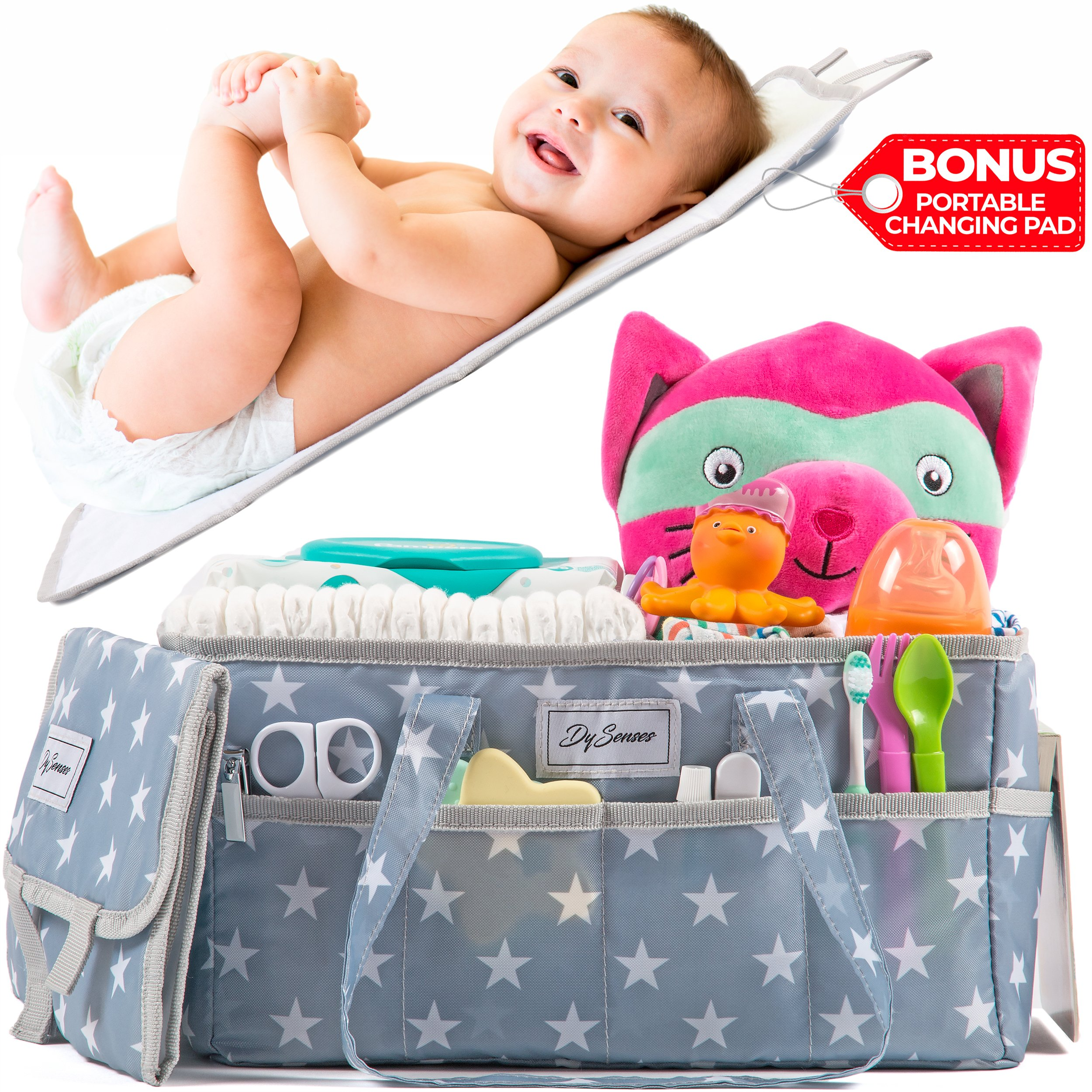 Diaper Storage Caddy Nursery Organizer | Grey Baby Diaper Caddy & Portable Changing Pad | Suitable for Car Travel Picnic & Nursing Station