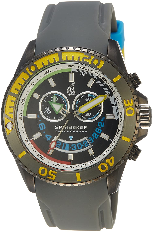 Spinnaker – sp-5021 – 02 – Amalfi – Armbanduhr – Quarz Chronograph – Zifferblatt schwarz Armband Silikon Schwarz