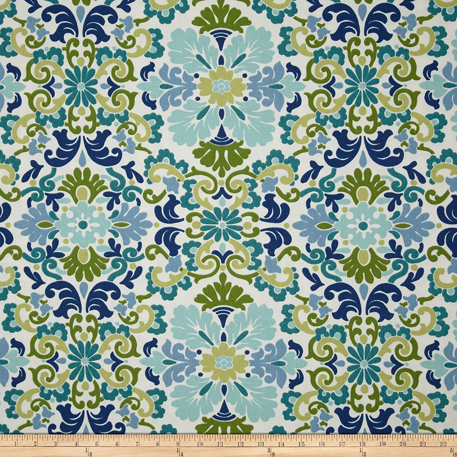 waverly folk damask seaspray fabric by the yard - Home Decor Fabric