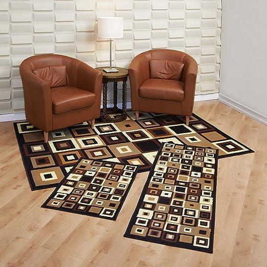 Achim Home Furnishings Capri 3-Piece Rug Set, Southwest Tiles