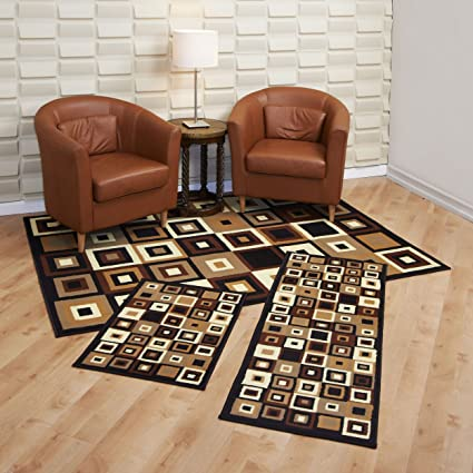 Achim Home Furnishings Capri 3 Piece Rug Set, Southwest Tiles