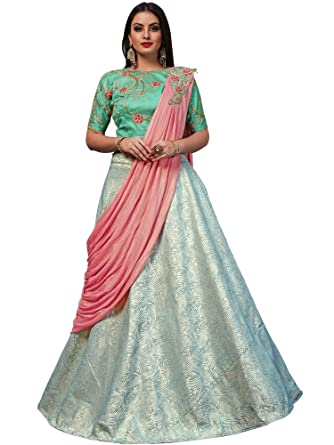 TANVI ENTERPRISE Women s Silk Unstitched Lehenga Choli (Pink   Off-White)   Amazon.in  Clothing   Accessories 5cd761d1d6