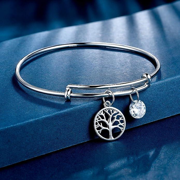 J.End/éar Lebensbaum Armband Verstellbar Charms Damen Armband Silber Armband f/ür Damen Kommt in Geschenkbox Silber Armkette mit Zirkonia Anh/änger