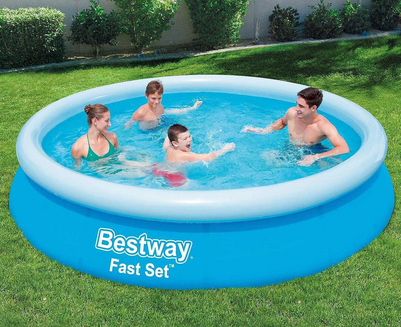 Bestway Fast Set Pool 366 x 76 cm, Hinchable Piscina sobre Suelo Redondo, sin Bomba y Accesorios para Notebook, 5377 L, Azul, 366 x 366 x 76 cm: Amazon.es: Jardín
