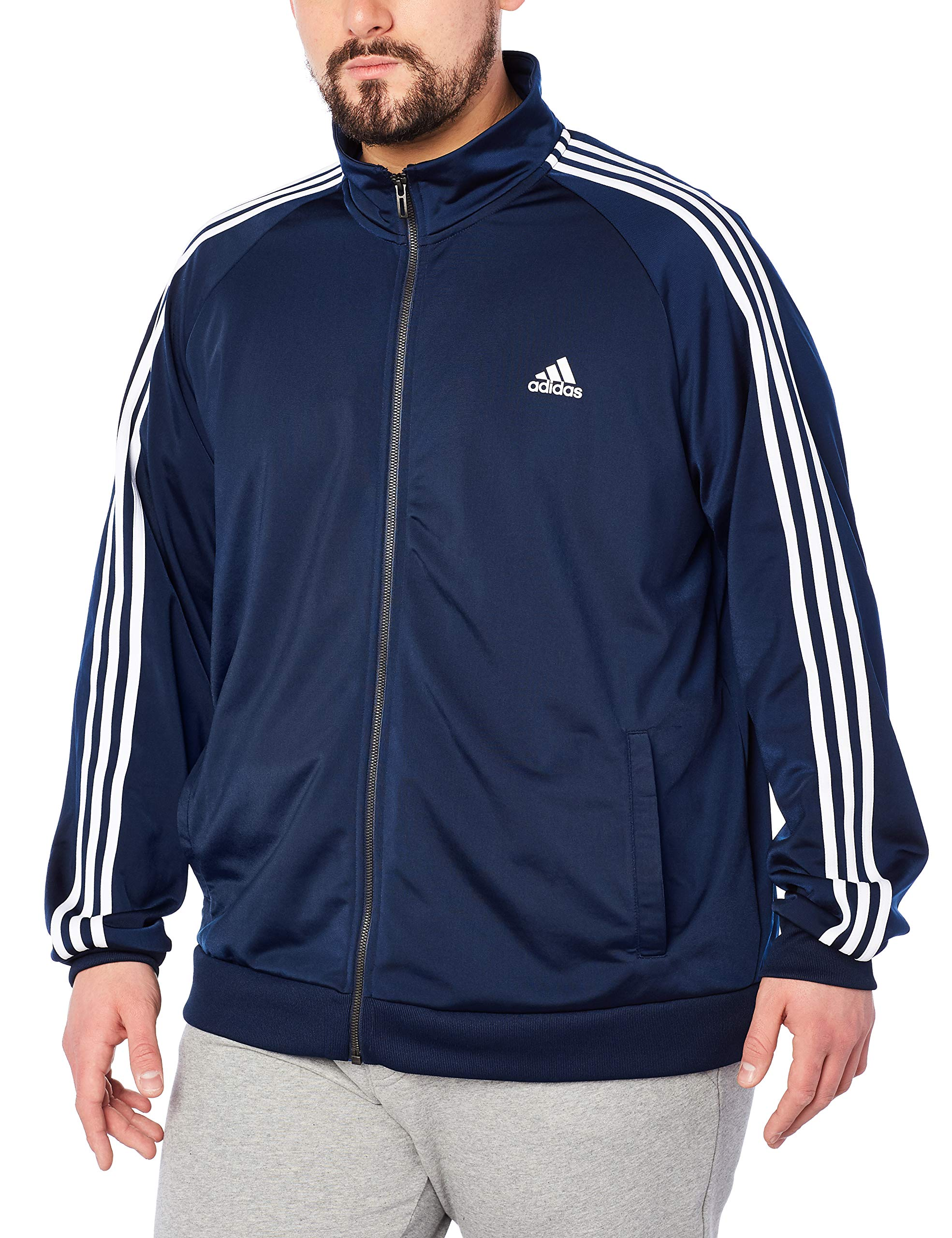 adidas Men's Essentials 3-Stripe Tricot Track Jacket, Collegiate Navy/White, Medium