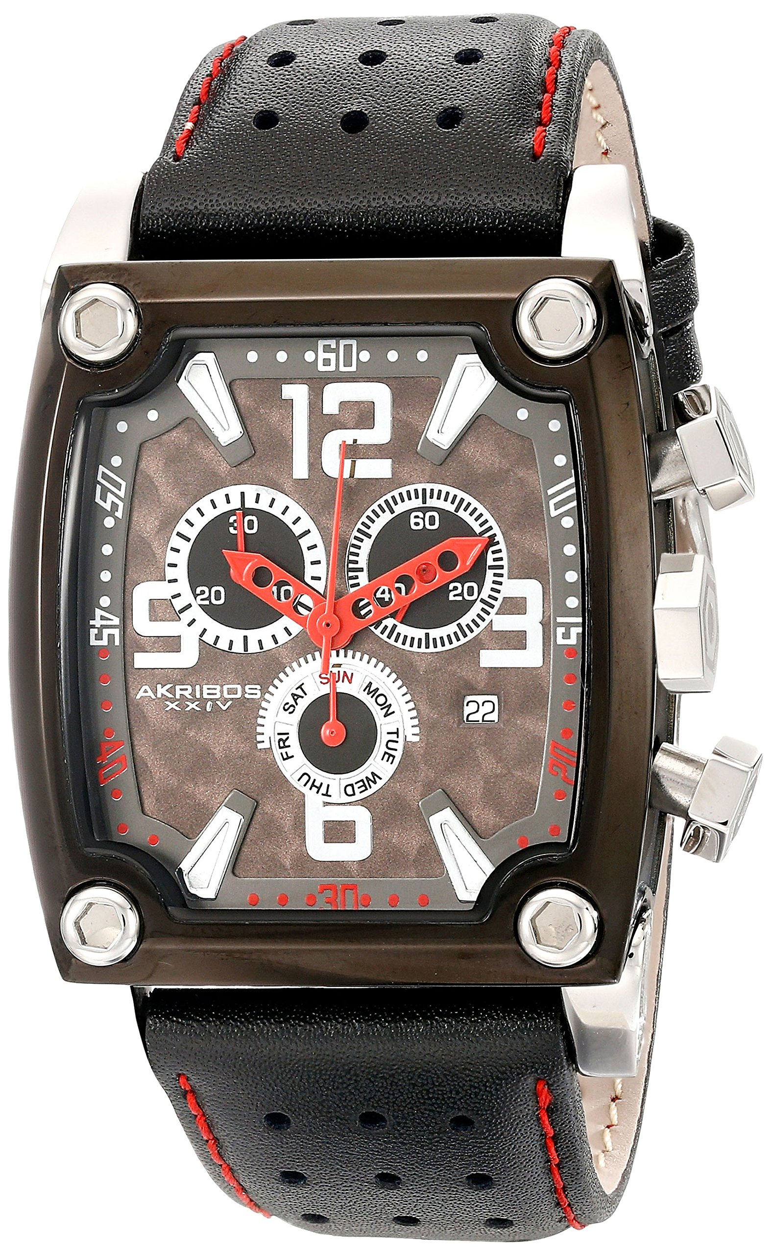 "Akribos XXIV Men's AKR415BK ""Conqueror"" Stainless Steel Watch with Black Leather Strap"