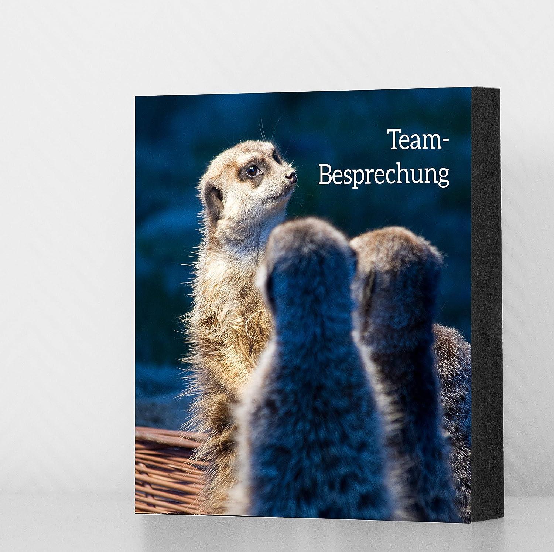 Geschenk MDF Bild Erdm/ännchen -Team-Besprechung 8x8cm Deko