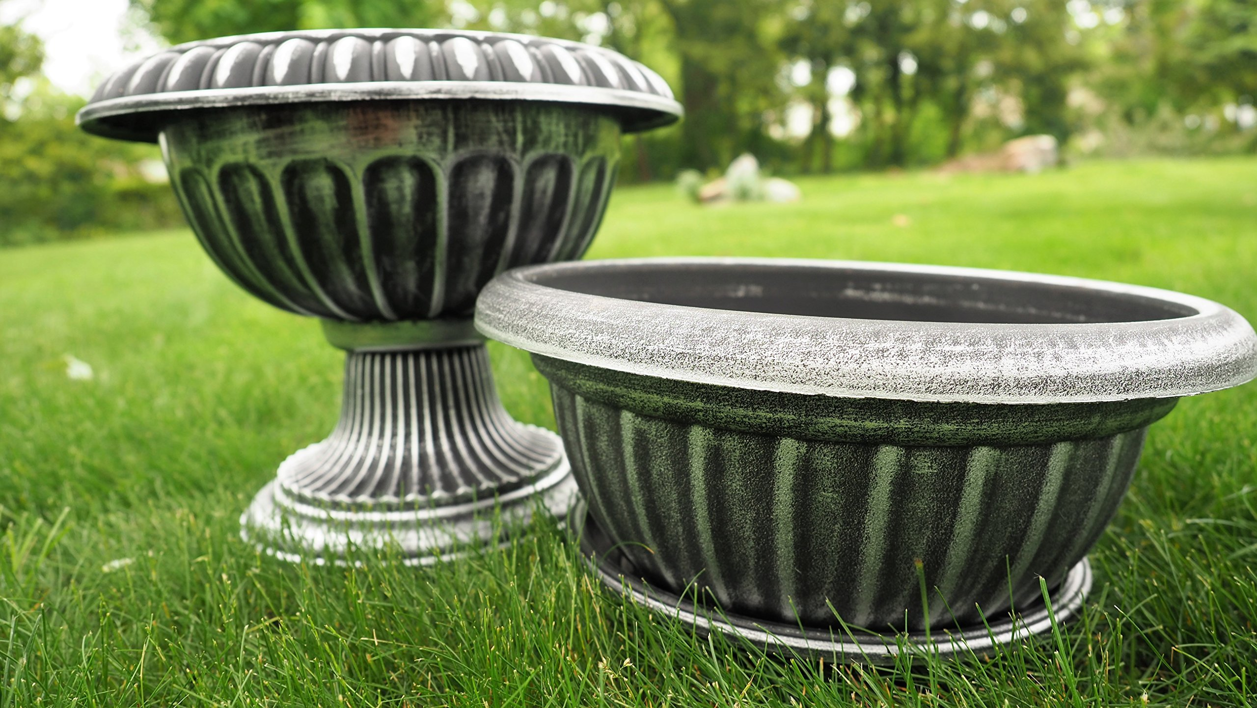 Unique 14'' Pot / Urn Rustic Look (2 Pack) Flower Seedlings Nursery with wide base Planter for Garden Patio Office Ornaments Home Decor Long Lasting Reusable Light Weight (Silver)