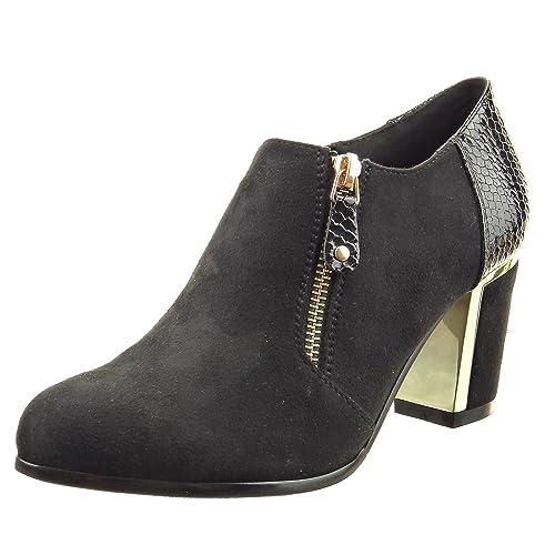 Sopily - Zapatillas de Moda Botines Low Boots Tobillo Mujer Piel de Serpiente Cremallera metálico Talón