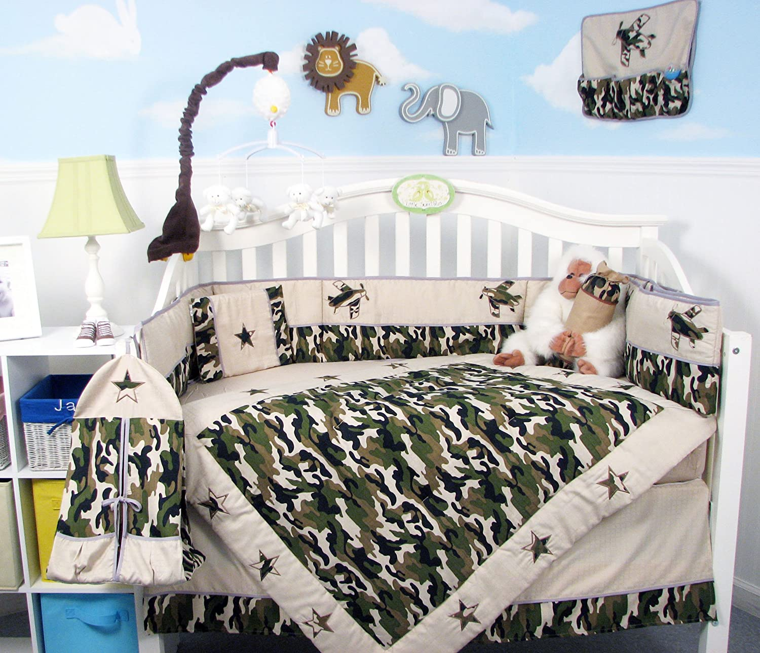 Amazon SoHo Boy Camouflage Army Baby Crib Nursery Bedding Set