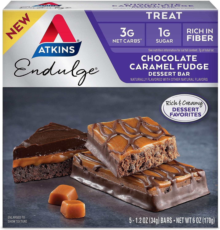 Atkins Endulge Treat Dessert Bar, Chocolate Caramel, Fudge, 5 Count (Pack of 1)