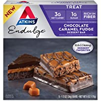 Atkins Endulge Treat Dessert Bar, Chocolate Caramel, Fudge, 5 Count (Pack of 1)