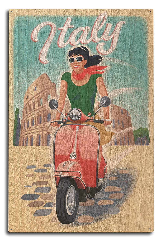 Lantern Press Italy - Woman on Vespa (10x15 Wood Wall Sign, Wall Decor Ready to Hang)