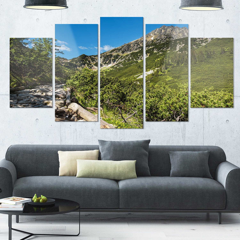 Designart Tourist Trail in High Mountains Landscape Glossy Metal Wall Art 32 H/x/60 W/x/1 D 5PD