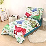 Wowelife Dinosaur Toddler Bedding 4 Piece Toddler Comforter, Flat Sheet, Fitted Sheet and Pillowcase(Colorful Dinosaur)