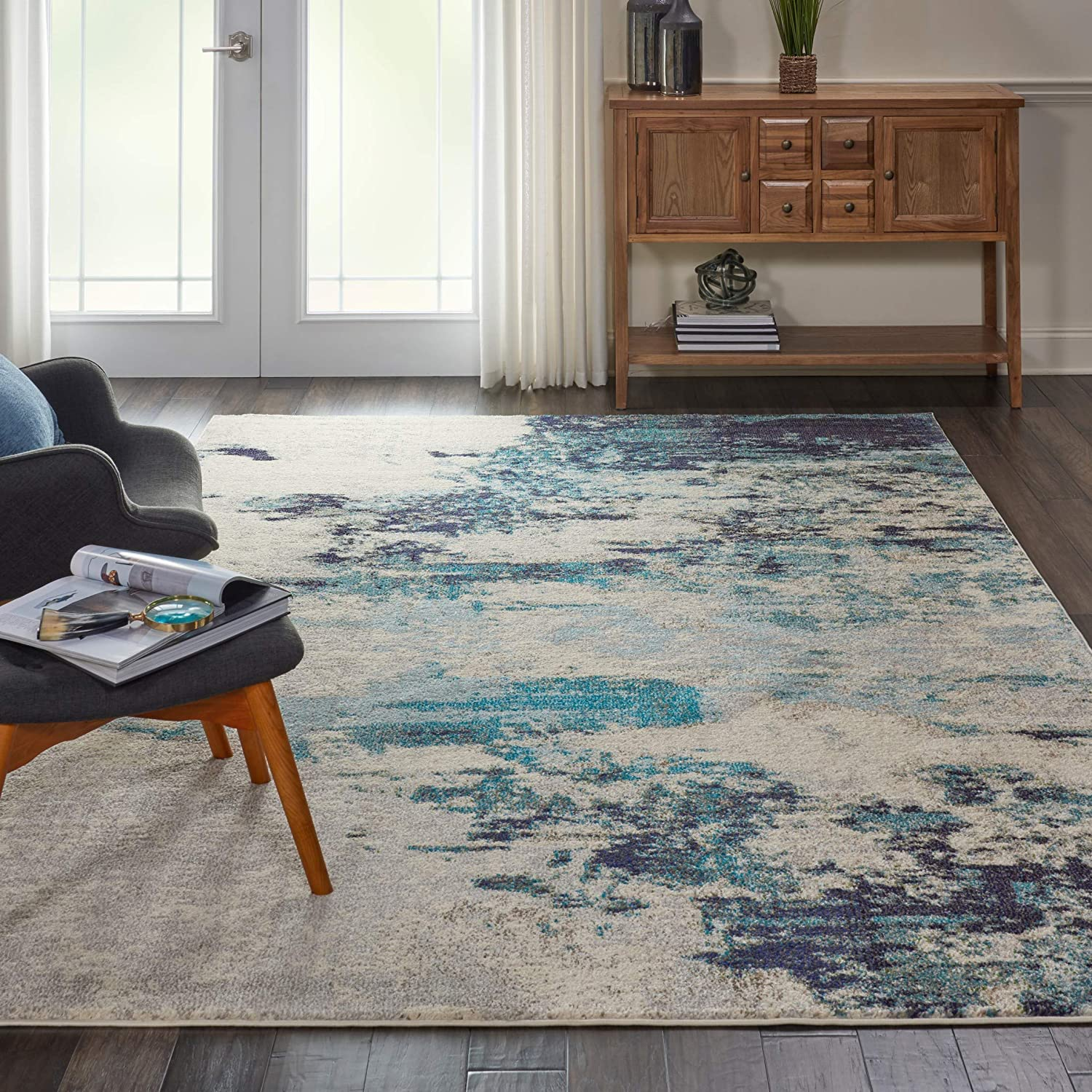 "Nourison Celestial Modern Abstract Area Rug, 7'10"" x ROUND (8' Round), Ivory/Teal Blue"