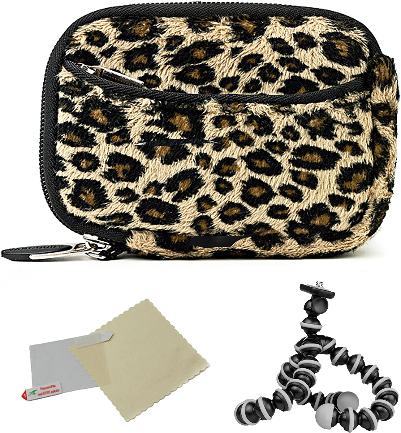 SD Cameras and Screen Protector and Mini Tripod ELPH SX Neoprene Slim Sleeve Cover Case with Pocket Brown Leopard for Canon A Series
