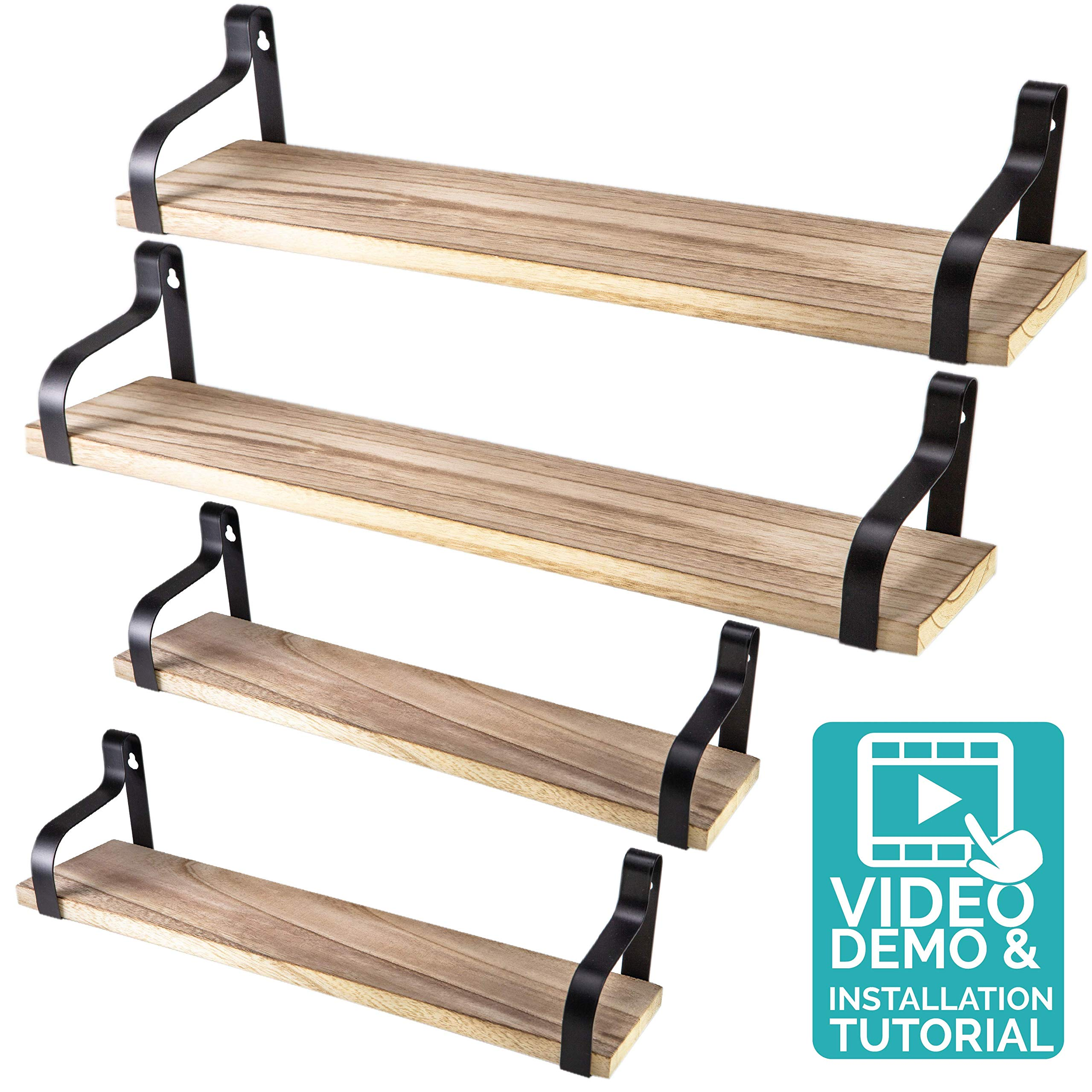 Floating Shelves Wall Mounted Set of 4 - Natural Rustic Wood Design Wall Storage Industrial Decor Shelving for Bedroom, Living Room, Bathroom Kitchen and in the Office by NATURE SUPPLIES