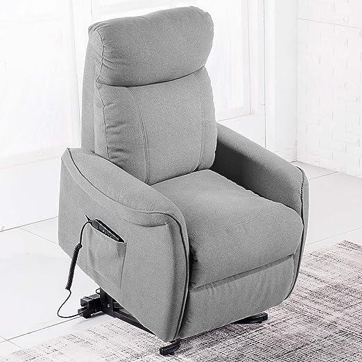 Sillón relax reclinable y con función levantapersonas modelo MISTER tejido Elegance gris ceniza – Sedutahome