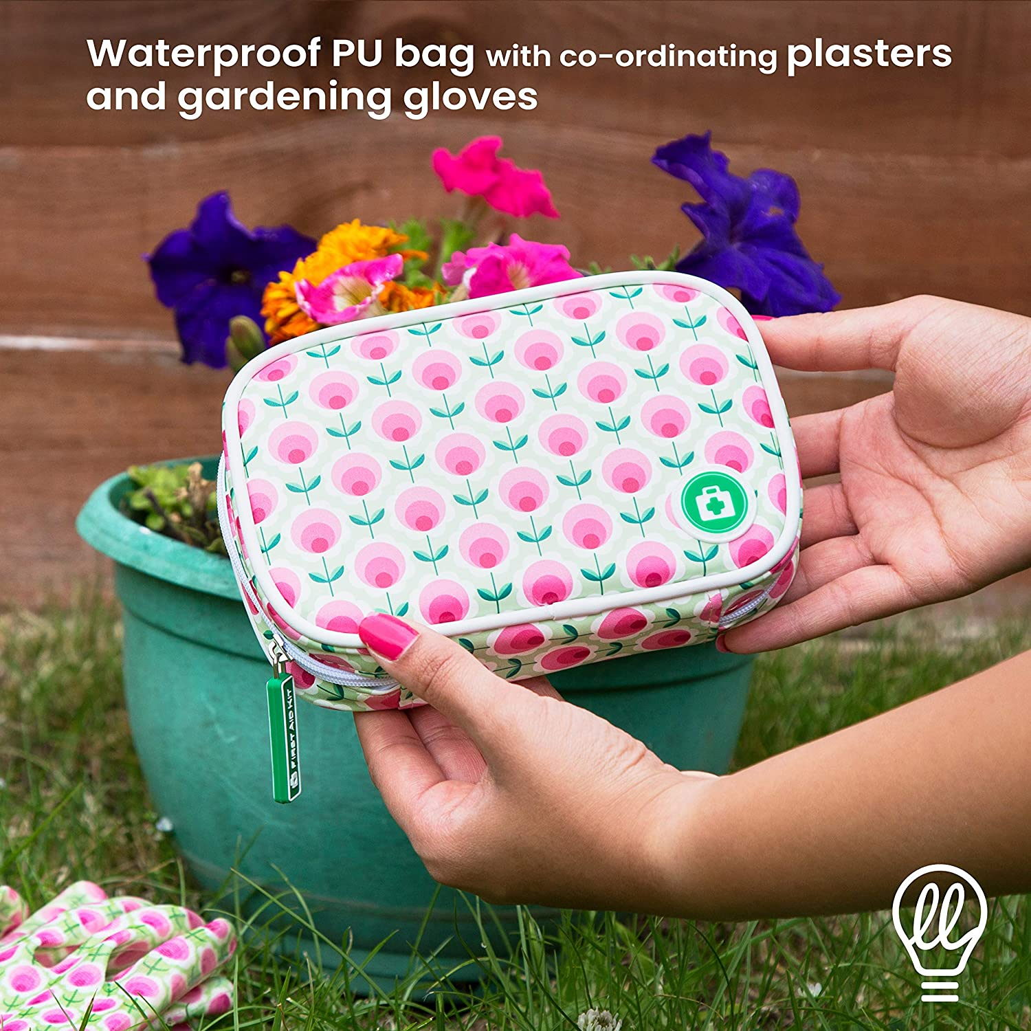 Yellodoor 85 Pcs Mini First Aid Kit with Scissors Antiseptic Wipes Includes Ladies Gardening Gloves Waterproof Plasters First Aid Bag for Travel and Garden Ideal Mum Gifts Bandage Pink Vegan