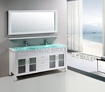 Double Vanity In White With Glass Vanity Top In Aqua Green And
