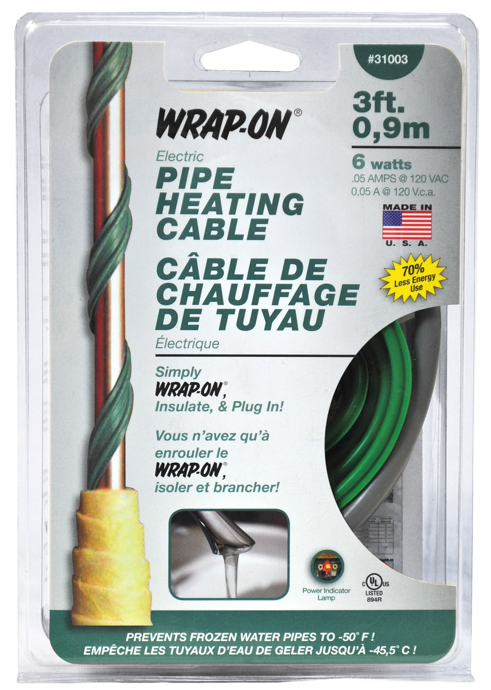 WRAP-ON Pipe Heating Cable - 3-Feet, 120 Volt, Built-in Thermostat, Low Wattage - 31003