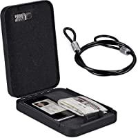 Relaxdays Autosafe met cijferslot, mobiel, met zekeringskabel, Mini kluis, staal, HxBxD: 4,5 x 17 x 24 cm, zwart