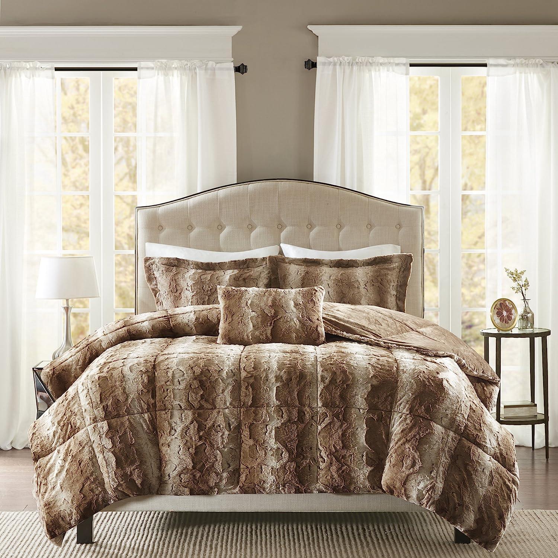 Madison Park Zuri Faux Fur Bedroom 4 Pieces Animal Print Bed Comforter Set, King, Tan