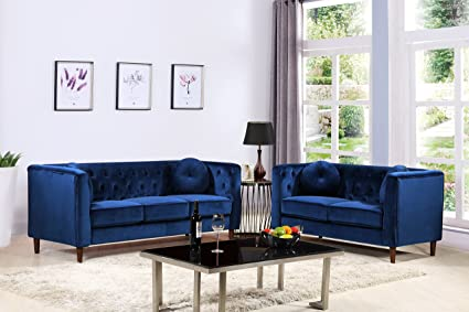 Container Furniture Direct S5373 2PC Kitts Velvet Upholstered Modern Chesterfield  Sofa Set, 78u0026quot;