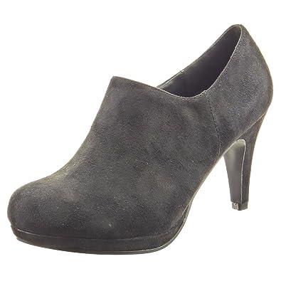 3d87f1728170 Sopily - Chaussure Mode Bottine Low boots Cheville femmes Talon haut  aiguille 6 CM - Noir