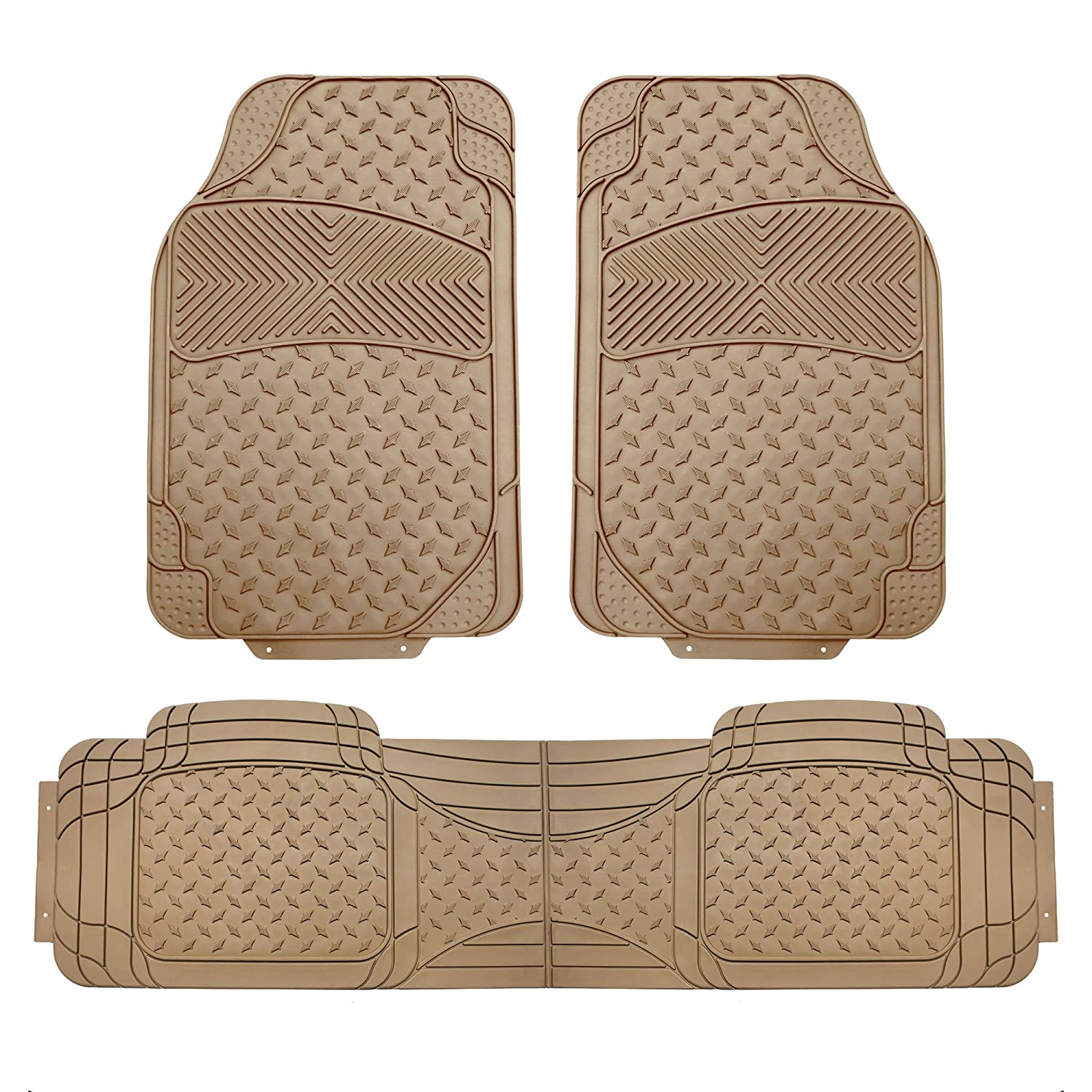 FH Group FH-F11307 3-Row All Weather Trimmable Beige Vinyl Floor Mat, 4 pcs