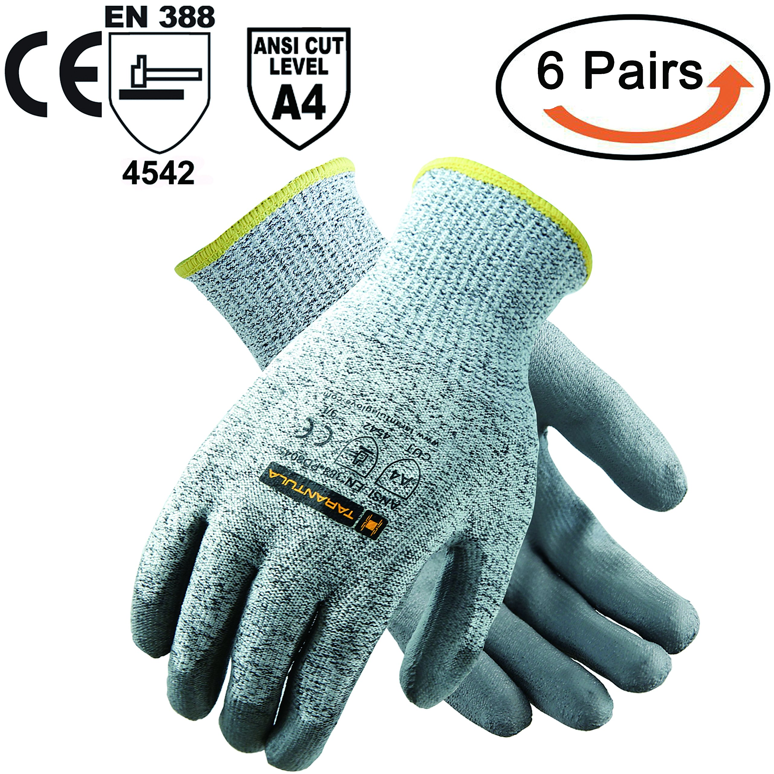 TARANTULA Cut Resistant Gloves, 13 gauge HPPE shell with black PU coated on palm Salt and Pepper Cut Resistance Level 5 Shell,6 Pair Per Pack