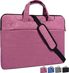 "15-15.6 Inch Laptop Bag,Girl/Lady Simplicity Stylish Notebook Messenger Shoulder Bag Case Briefcase for acer 15.6"" chromebook,Asus Dell Samsung HP Toshiba Lenovo Notebook Protective Case,Light Red"