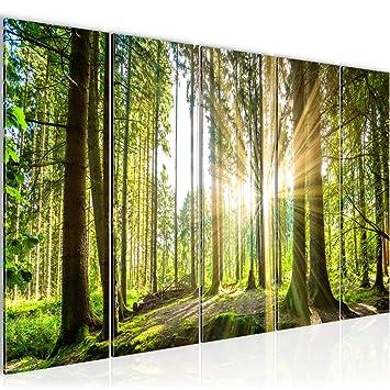 Bilder Wald Landschaft Wandbild 200 x 80 cm Vlies - Leinwand Bild ...
