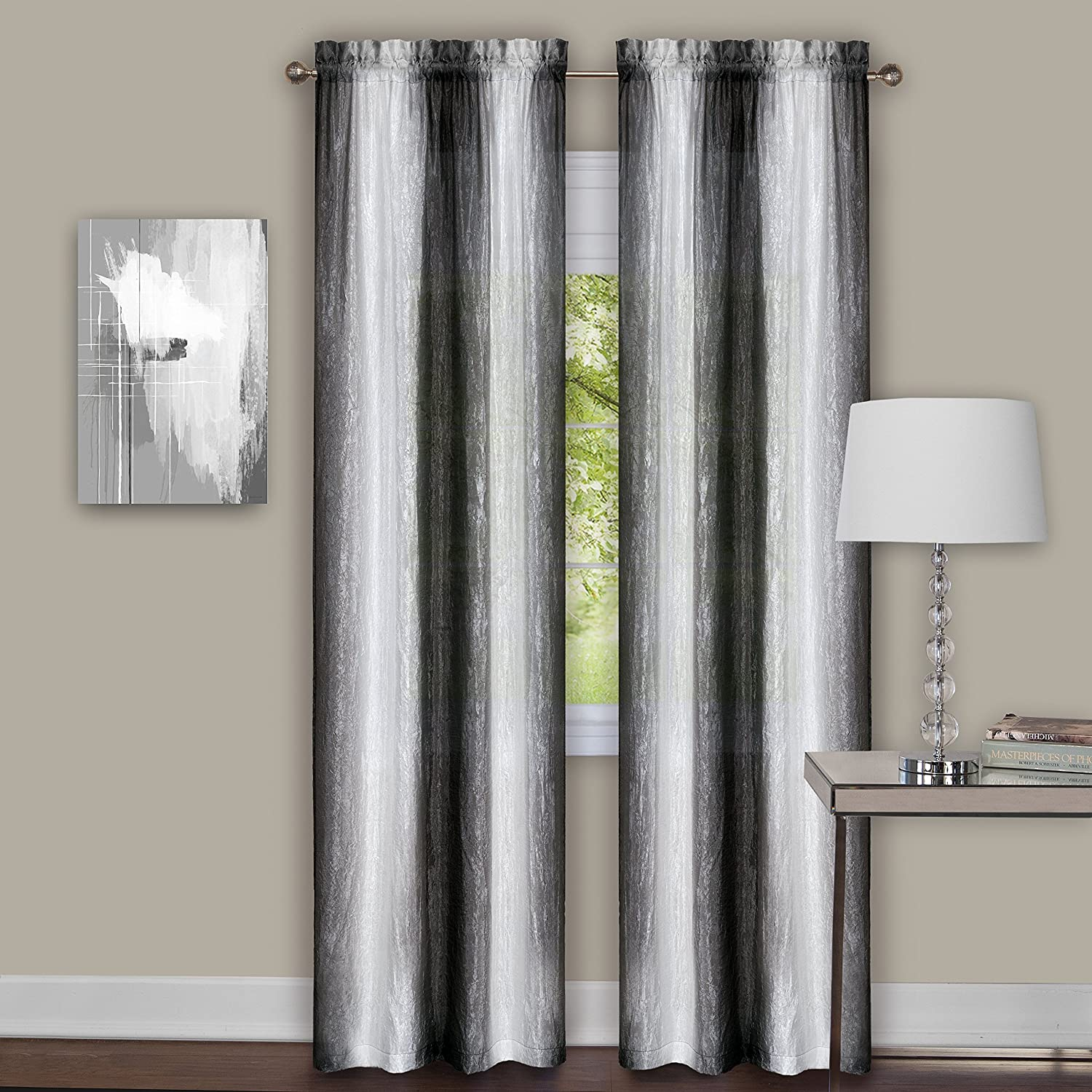 "Achim Home Furnishings Sombre Window Pair Curtain Panel, 40"" x 84"", Black/White"