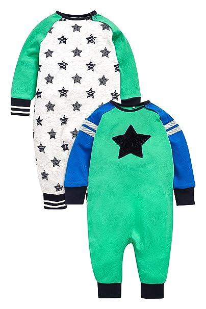 next Bebé Niño Pack De Dos Peleles Largos Estrellas (0 Meses - 2 Años) Corte Estándar Verde/Azul 1.5-2 años: Amazon.es: Ropa y accesorios