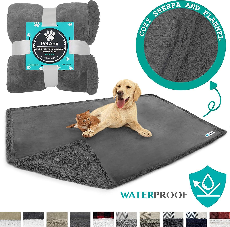 "PetAmi WATERPROOF Dog Blanket for Bed Couch Sofa   Waterproof Dog Bed Cover for Large Dogs, Puppies   Grey Sherpa Fleece Pet Blanket Furniture Protector   Reversible Microfiber   60"" x 80"" (Gray/Gray) : Pet Supplies"
