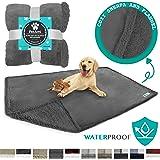 PetAmi WATERPROOF Dog Blanket for Bed, Couch, Sofa | Waterproof Dog Bed Cover for Large Dogs, Puppies | Grey Sherpa Fleece Pet Blanket Furniture Protector | Reversible Microfiber | 80 x 55 (Gray/Gray)