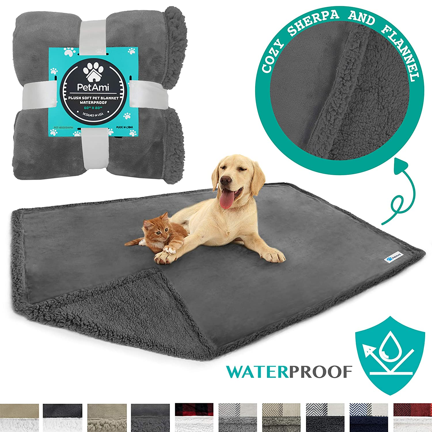 PetAmi best Waterproof Dog Blanket for Bed