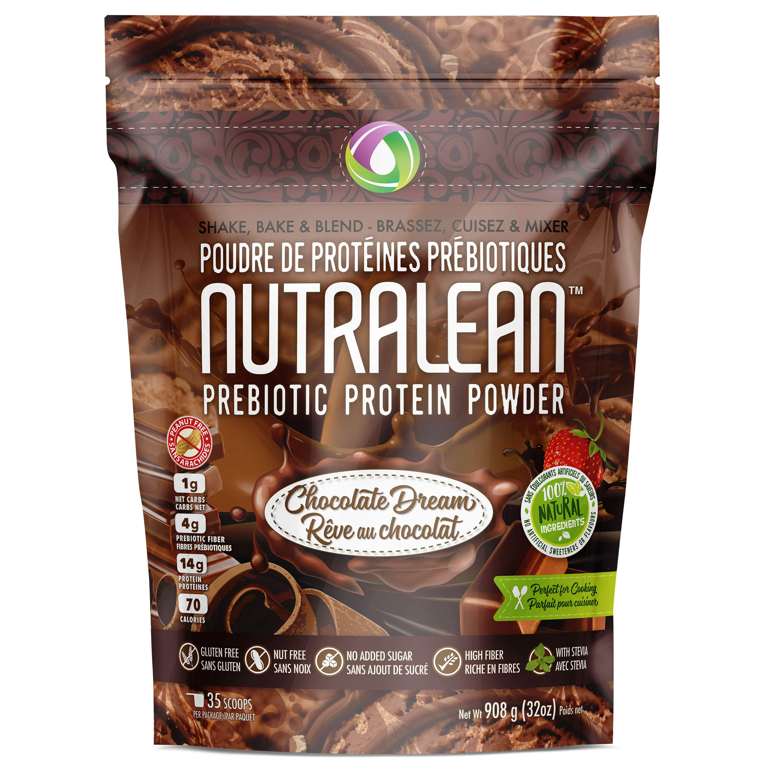NUTRALEAN Chocolate Dream Prebiotic Protein Powder- 100% All Natural | Peanut-Free | Nut-Free | Gluten-Free | Soy-Free | NO Artificial Sweeteners | Grass Fed Whey | Ideal Keto Shake & Fiber Supplement by Nutracelle