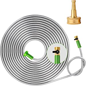 Yanwoo 304 Stainless Steel 10ft Garden Hose with Sprayer Nozzle and ON/OFF Valve, Lightweight, Kink-Free, Heavy Duty Outdoor Hose (10ft)