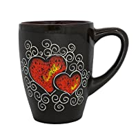 Pottery coffee mug Gift Idea «Red Heart» 13.3 fl oz