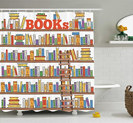 Ambesonne Modern Shower Curtain Library Bookshelf With A Ladder School Education Campus Life Caricature Illustration