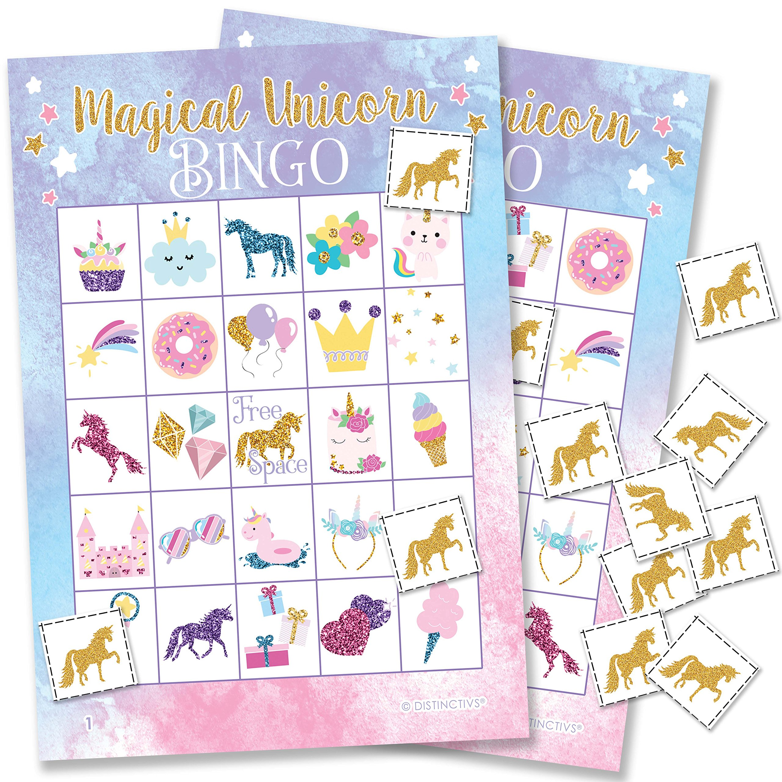 Magical Unicorn Bingo Game - 24 Players by DISTINCTIVS