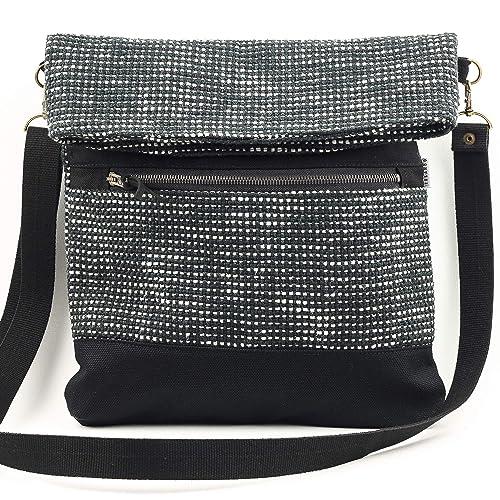 Foldover Crossbody Shoulder Bag. Black Tweed Fabric Bag