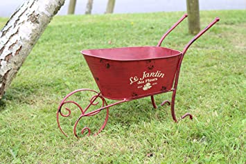 Metal Planter On Wheels For Garden Flowers And Borders Large Ornamental Wheelbarrow Decor