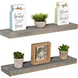 "Imperative Décor Floating Shelves Rustic Wood Wall Shelf USA Handmade | Set of 2 (Grey, 24"" x 5.5"")"